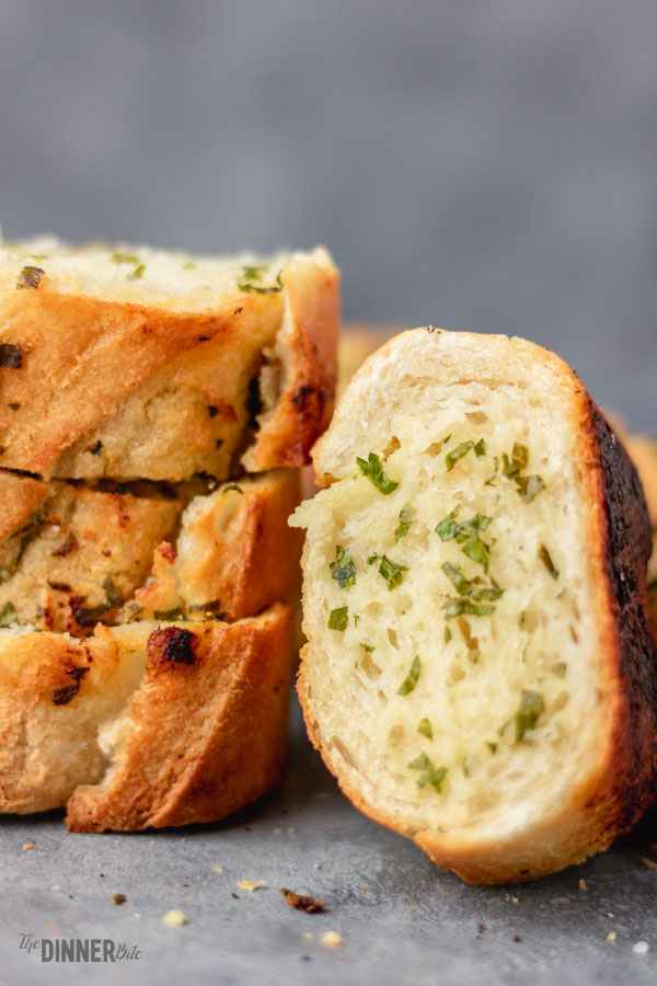 a slice of garlic bread.