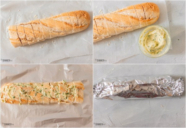 process shots of how to make baguette garlic bread.