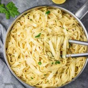 lemon garlic pasta in a skillet.