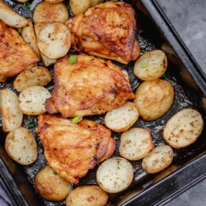 one pan chicken and potato dinner.