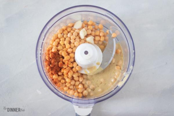 hummus ingredients in a food processor.