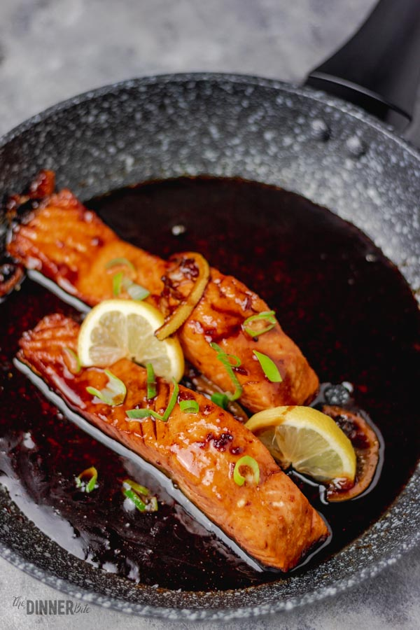 pan fried salmon coated in honey garlic sauce.