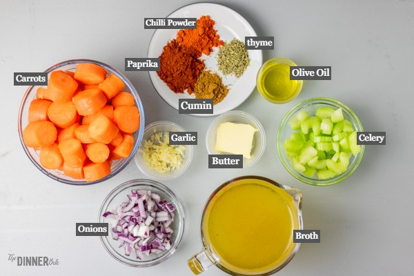instant pot carrot soup ingredients.