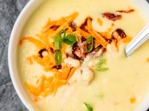 loaded creamy pressure cooker potato soup.