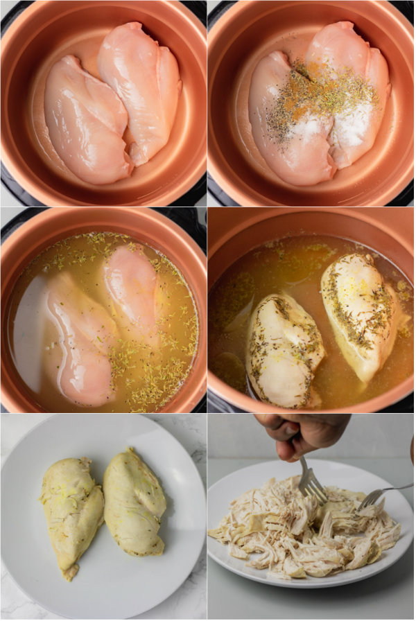 step by step how to make shredded chicken in pressure cooker or instant pot.