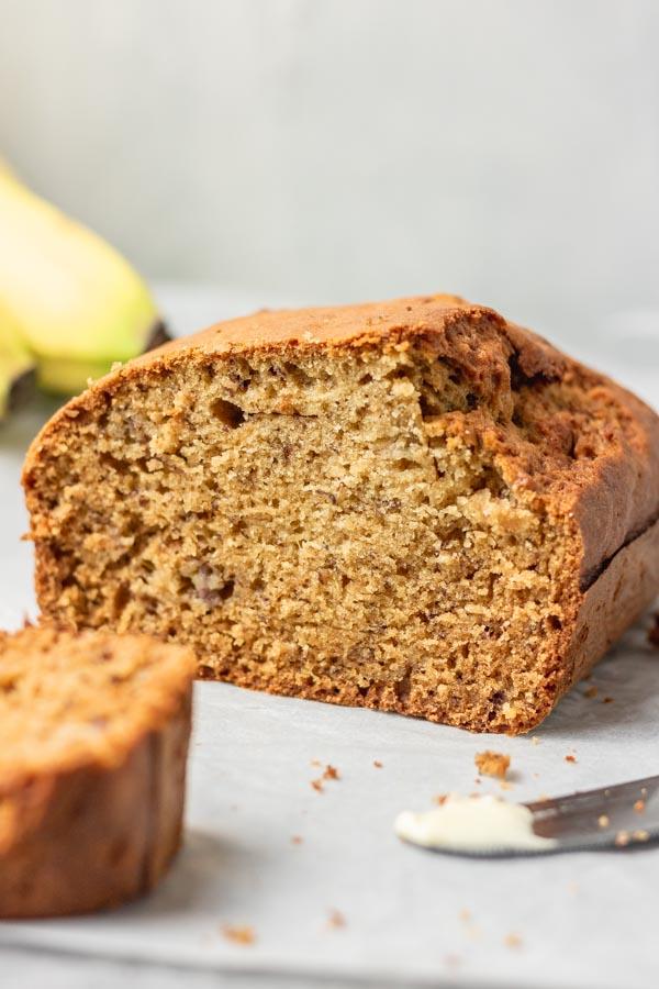dairy free banana bread loaf.