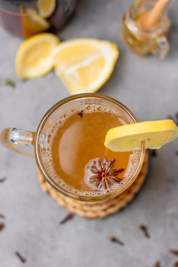 overhead shot of a mug of hot toddy drink for cold.