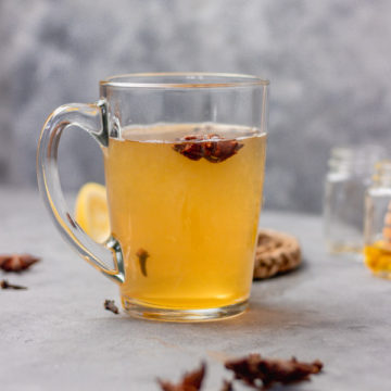 a mug of hot toddy for cold and cough.