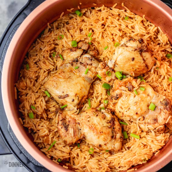 rice and chicken cooked in a pressure cooker.