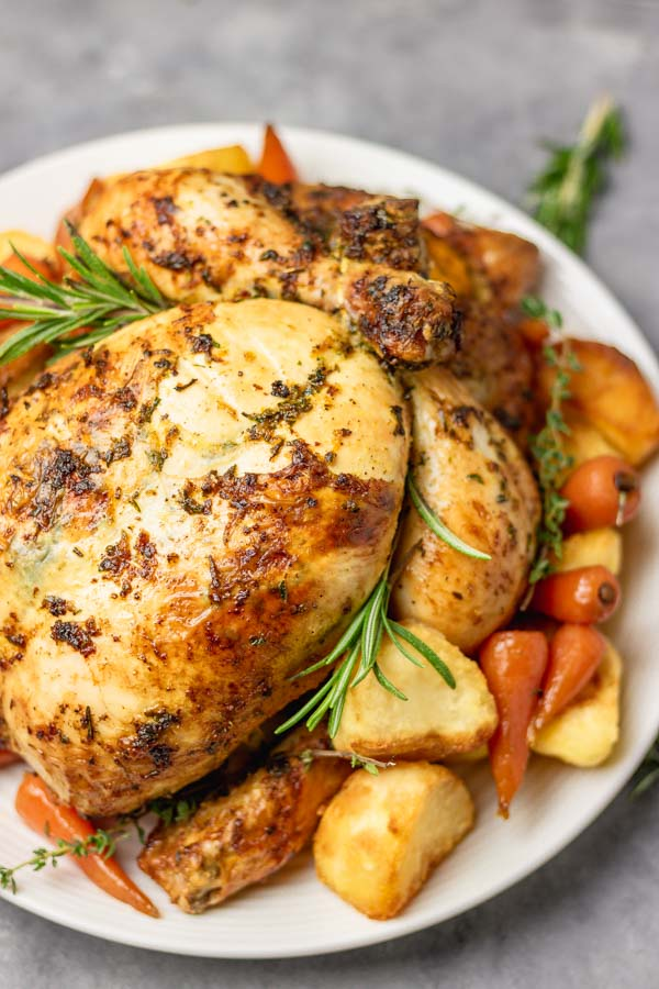 brined simple roast chicken.