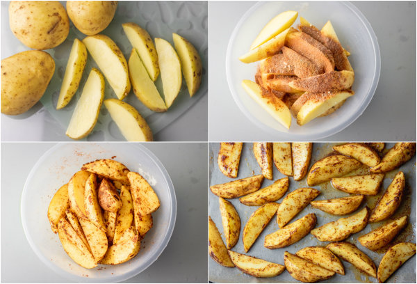 step by step how to make oven baked potato wedges.