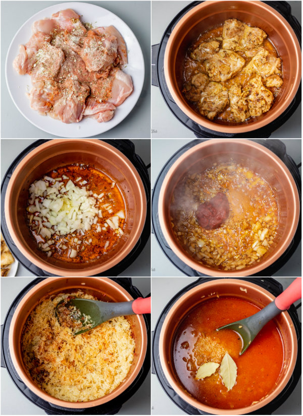 step by step pressure cooker rice and chicken.