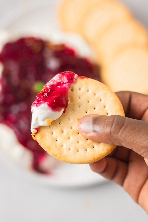 cranberry cream cheese sauce and thin cracker.