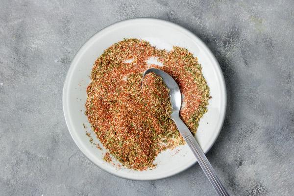 spice rub on a plate.