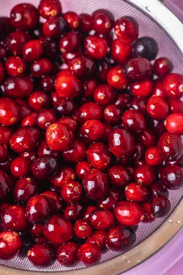 freshly rinsed cranberries.