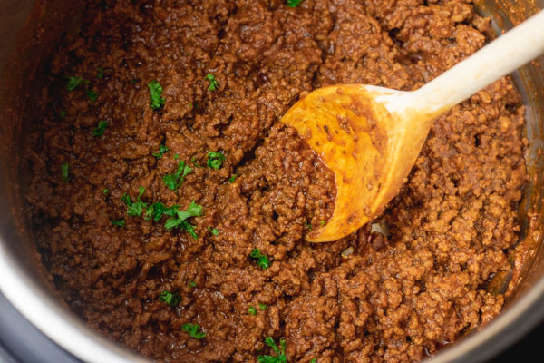 ground beef taco in an instant pot.