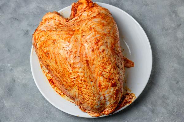 Spiced bone-in turkey breast.
