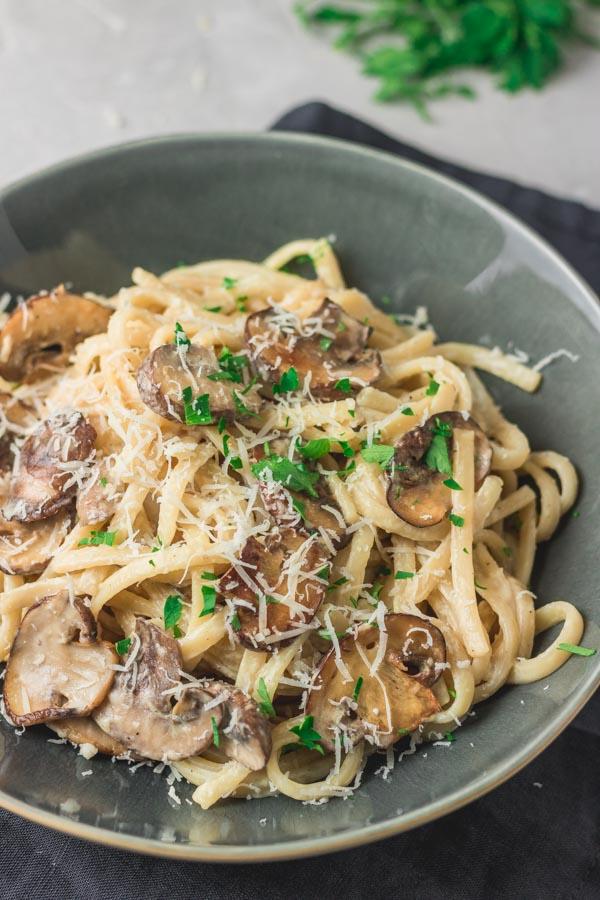 creamy mushroom pasta in a bowl.