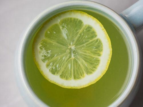 a mug of lemon honey ginger tea.