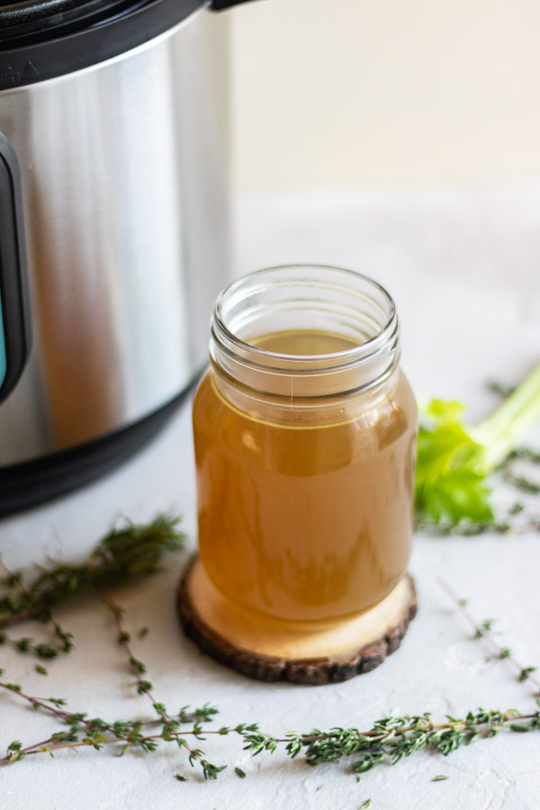 instant pot chicken stock in a jar.