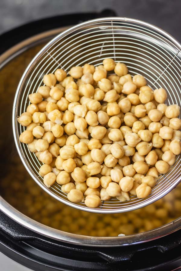 Cooked instant pot chickpeas.