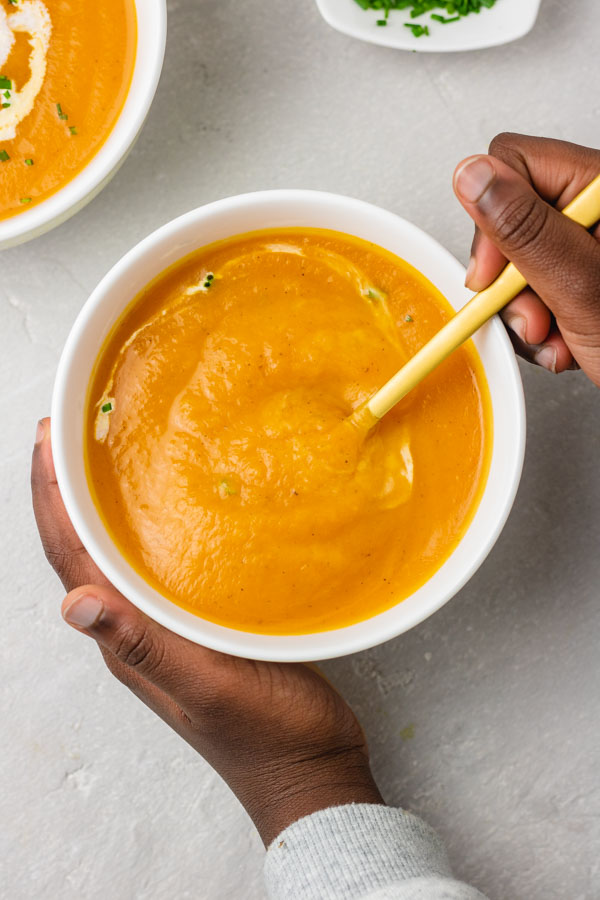hearty bowl of homemade butternut squash soup.
