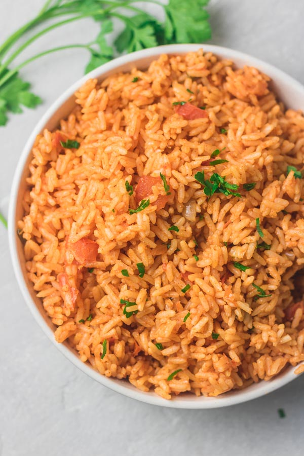 A bowl of instant pot Mexican/Spanish rice.