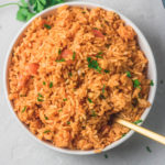 a plate of instant pot mexican rice.