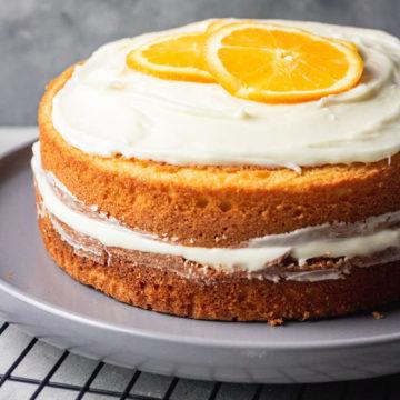 orange cake with buttercream and mascarpone frosting.