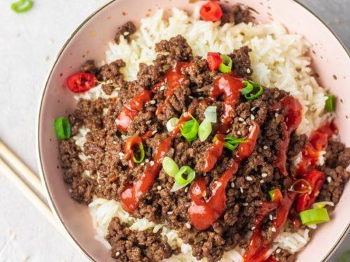 a bowl of instant pot korean beef bulgogi