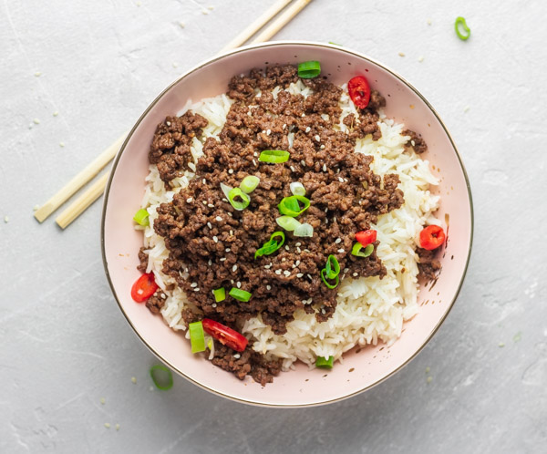 a bowl of korean ground beef.