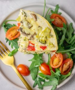 instant pot frittata served with salad.