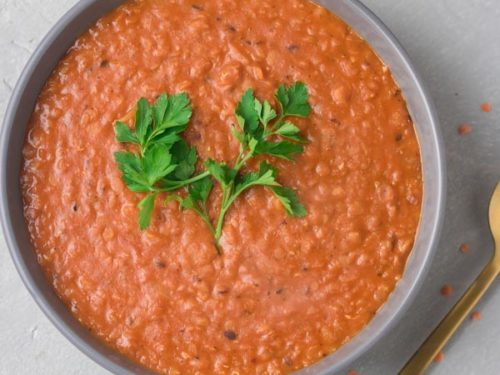 a bowl of easy instant pot lentil curry.