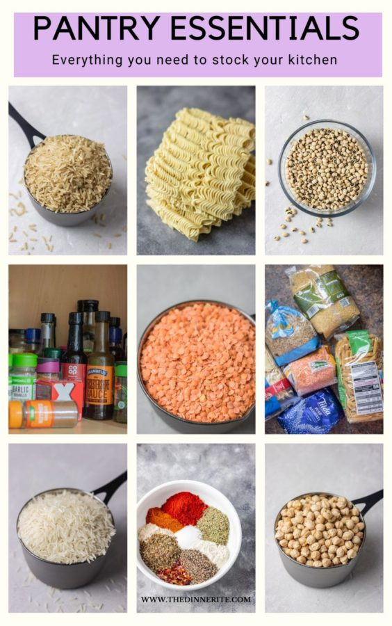 PICTURE COLLAGE OF PANTRY ESSENTIALS.