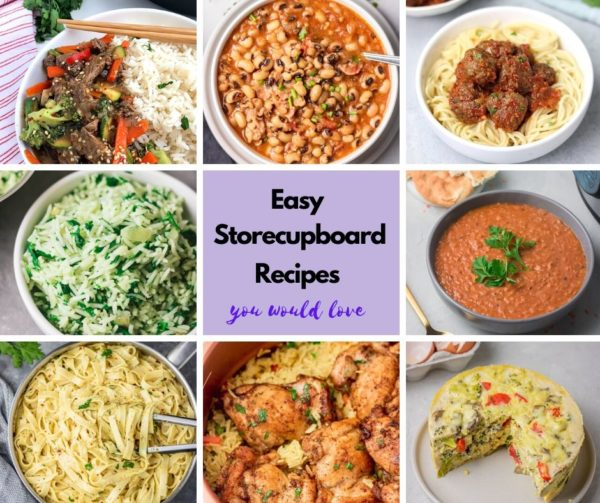 a food collage for easy storecupboard recipes roundup.