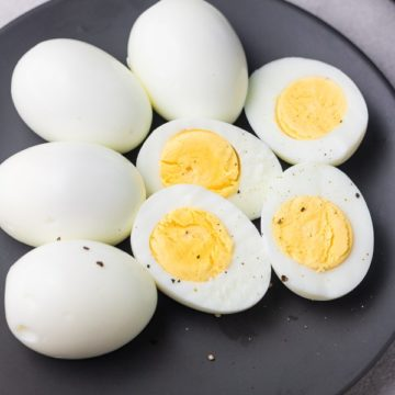 hard boiled eggs on a plate.