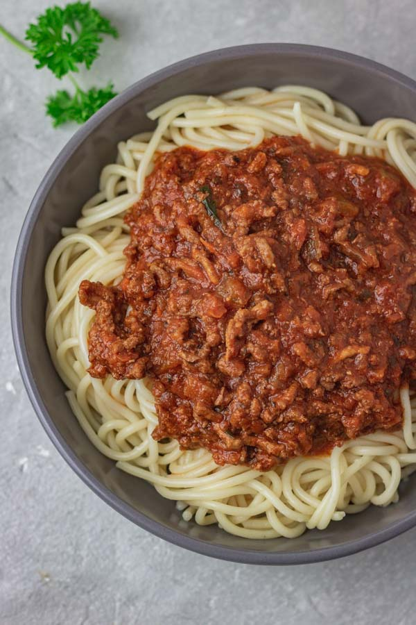 a bowl of spaghetti bolognese.
