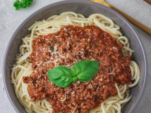 a bowl of instant pot bolognese sauce.