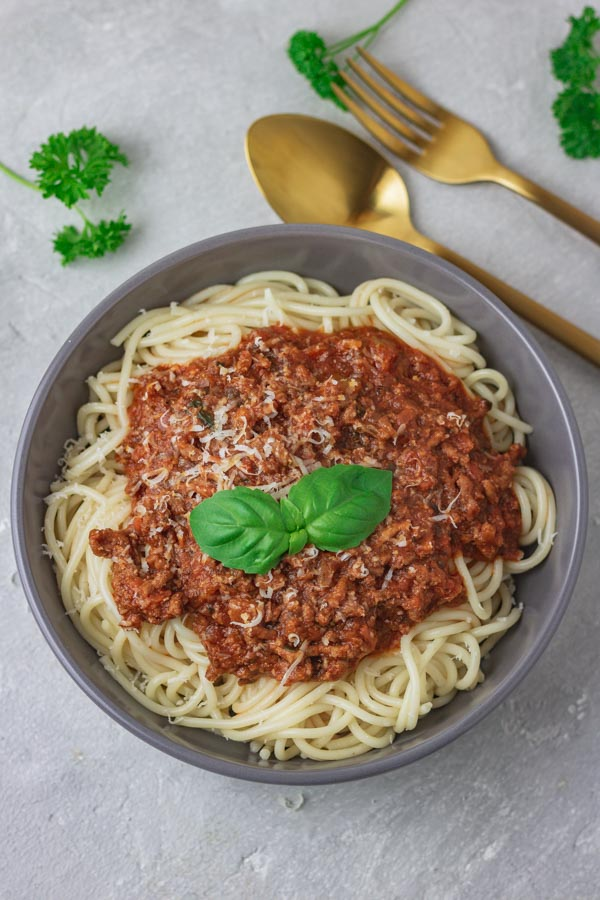 a bowl of instant pot bolognese sauce.