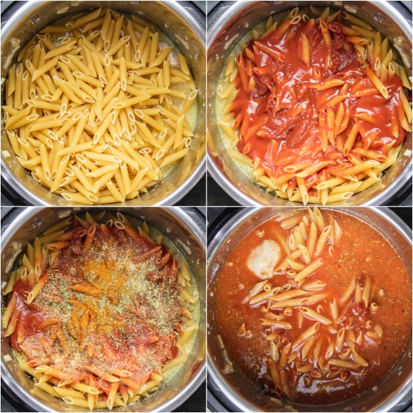 the cooking process pasta and chicken in an instant pot.