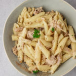 a bowl of canned tuna pasta.