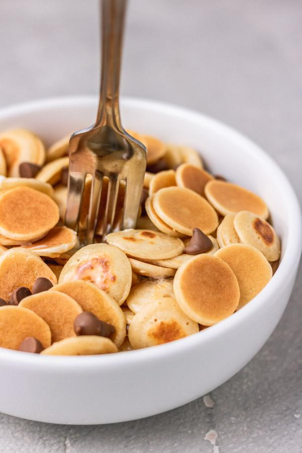 a bowl of mini pancakes.