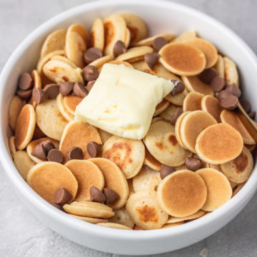A BOWL OF CEREAL PANCAKES.