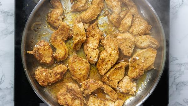 sauteing chicken.