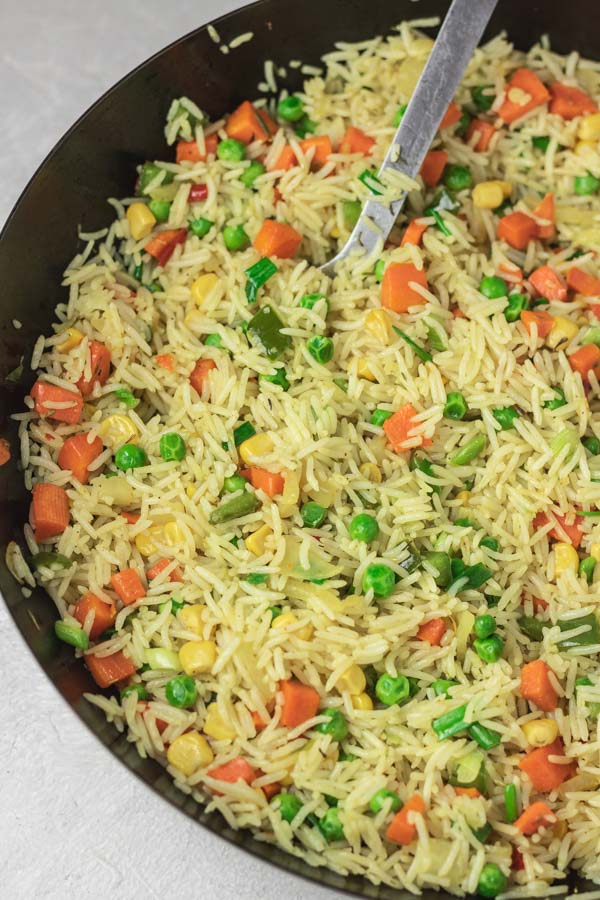 a wok with freshly cooked fried rice.