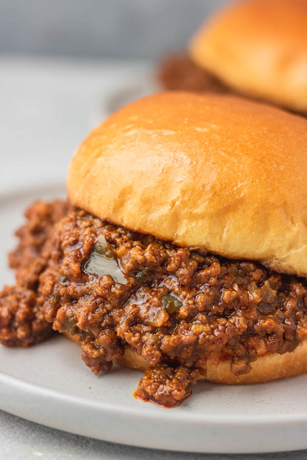 instant pot sloppy joe in a toasted brioche bun.