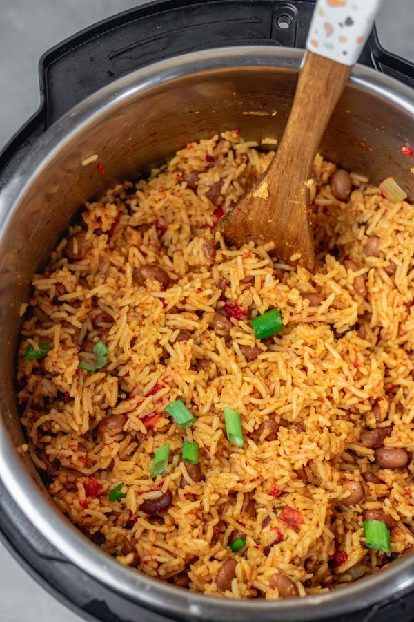 rice and beans freshly cooked in an instant pot.