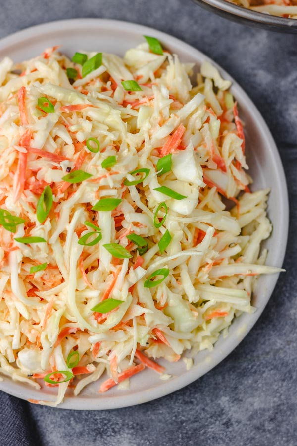 a plate of coleslaw.