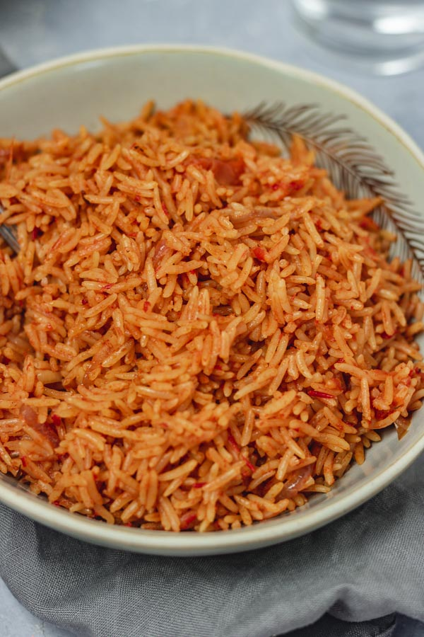 a plate of red rice.