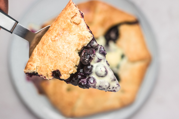 a slice of blueberry galette.